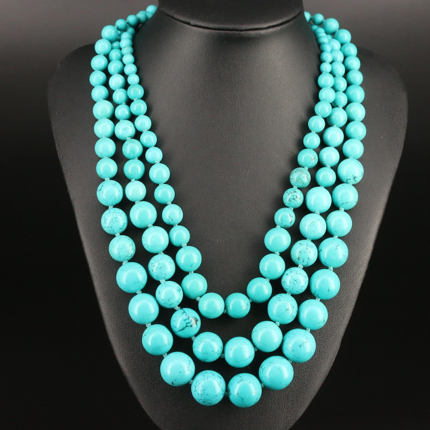 Howlite Graduated Bead Triple Strand Necklace with Sterling Silver Clasp