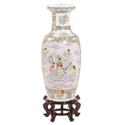 Chinese Hand Painted Floor Vase on Wooden Stand, Late 20th Century