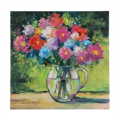 "Nancy F. Morgan Floral Acrylic Painting ""Garden Party"""