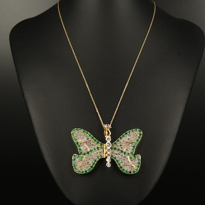 14K 5.57 CTW Diamond and Emerald Articulated Butterfly Pendant Necklace