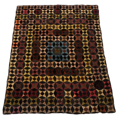 Four-Point Star Hand-Pieced Corduroy and Velour Quilt