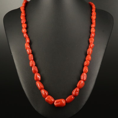 Graduated Coral Necklace with Sterling Clasp