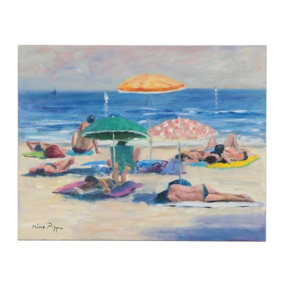 "Nino Pippa Oil Painting ""French Riviera - St. Tropez Beach Scene,"" 2012"