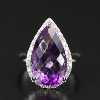 14K 9.33 CT Amethyst and Diamond Teardrop Halo Ring