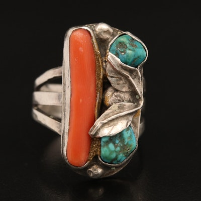 Sterling Coral and Turquoise Ring