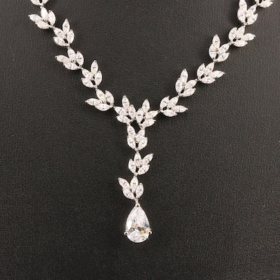 Sterling SIlver Cubic Zirconia Foliate Drop Necklace