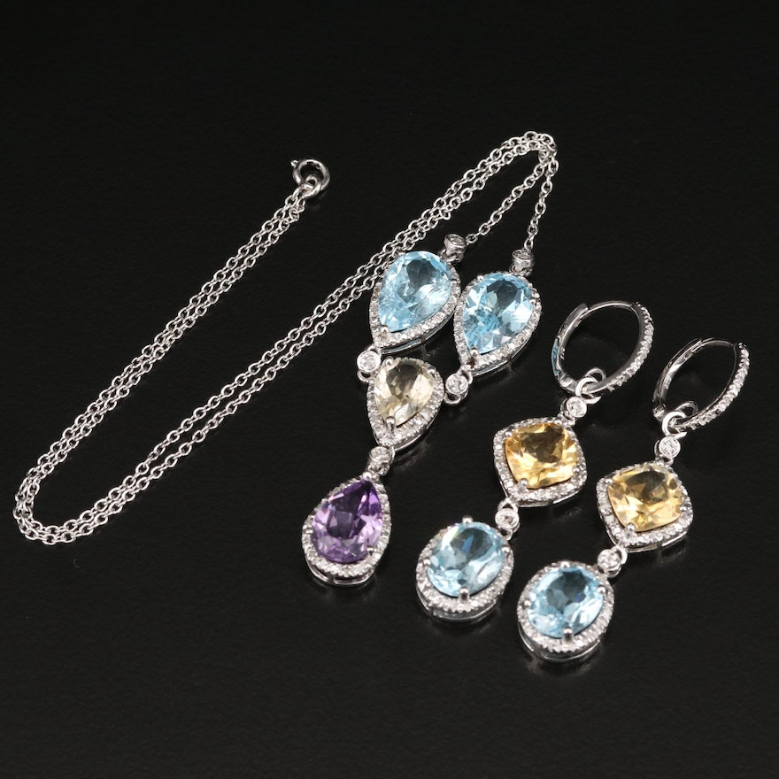 Sterling Drop Necklace and Earrings Featuring Topaz, Citrine and Diamond Accents