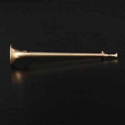 Vintage 14K Bugle Brooch