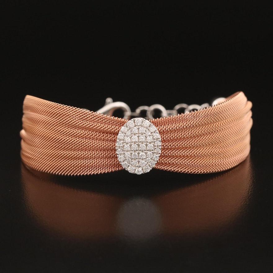 Sterling Cubic Zirconia Mesh Bracelet