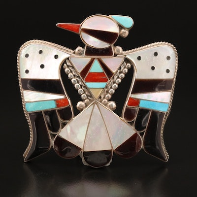 Bobby & Corraine Shack Zuni Sterling Gemstone Inlay Thunderbird Brooch