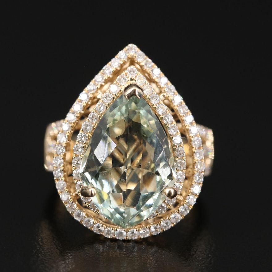 14K 6.13 CT Prasiolite and 1.35 CTW Diamond Double Halo Teardrop Ring
