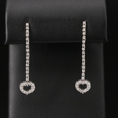 14K Diamond Heart Drop Earrings