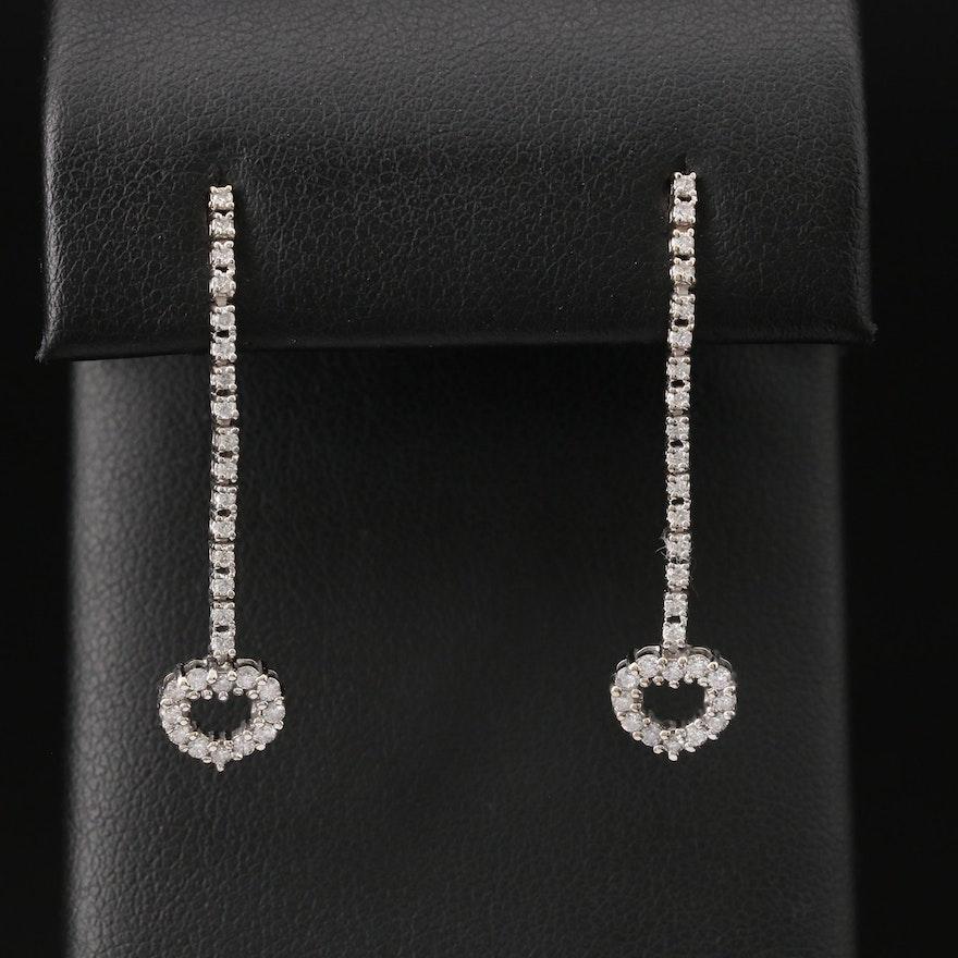 14K Diamond Heart Drop Earrings