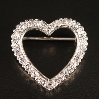 14K Diamond Heart Brooch