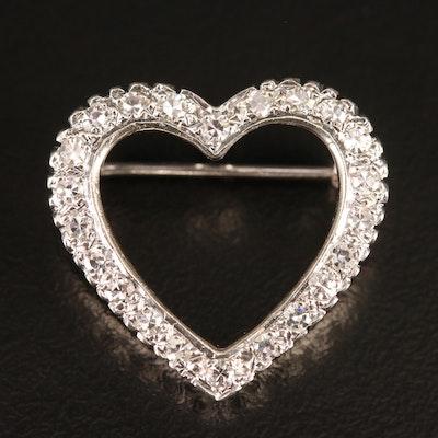 14K Diamond Heart Brooch