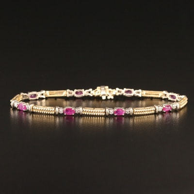 14K Two-Tone Ruby and Diamond Link Bracelet