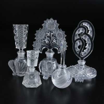 Art Deco Cut and Pressed Glass and Crystal Perfume Bottles, Early-Mid 20th C.