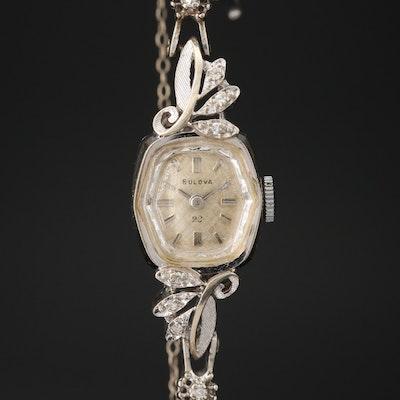 Bulova 14K Gold Diamond Stem Wind Wristwatch