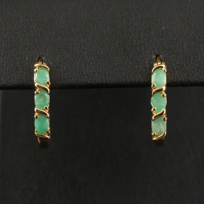 Sterling Silver Emerald Hoop Earrings