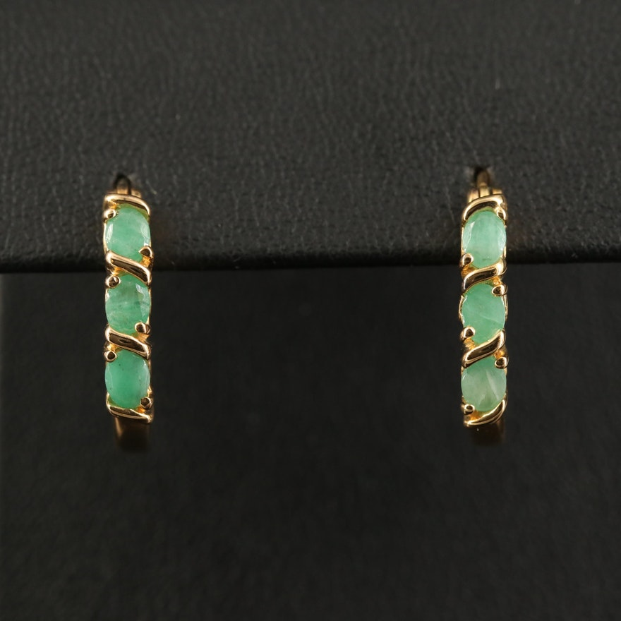 Sterling Silver Emerald Hoop Earrings