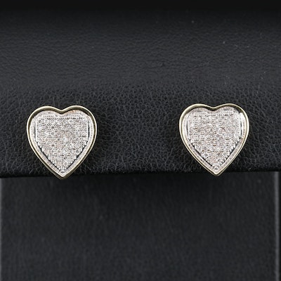 14K Diamond Heart Cluster Earrings