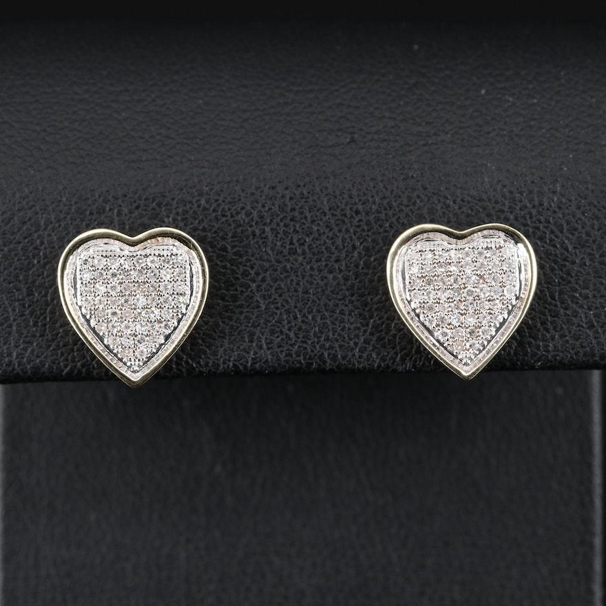 14K Diamond Heart Cluster Earrings