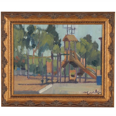 "Kevin Yuen Oil Painting ""Colina del Sol, San Diego Playground,"" 2020"