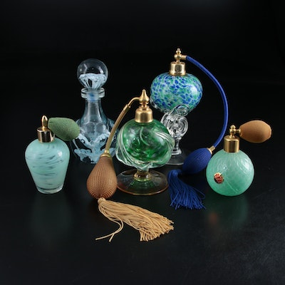 Murano and Other Art Glass Atomizers and Perfume Bottles, Mid-Late 20th Century