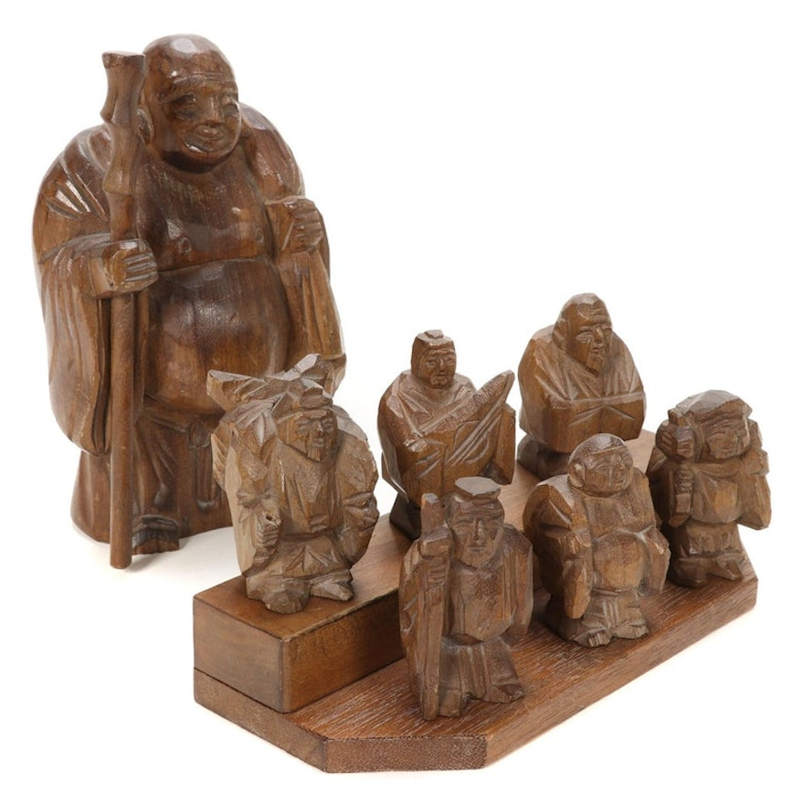 "Japanese Style Wooden ""Seven Lucky Gods"" Figurines with Display Stand"