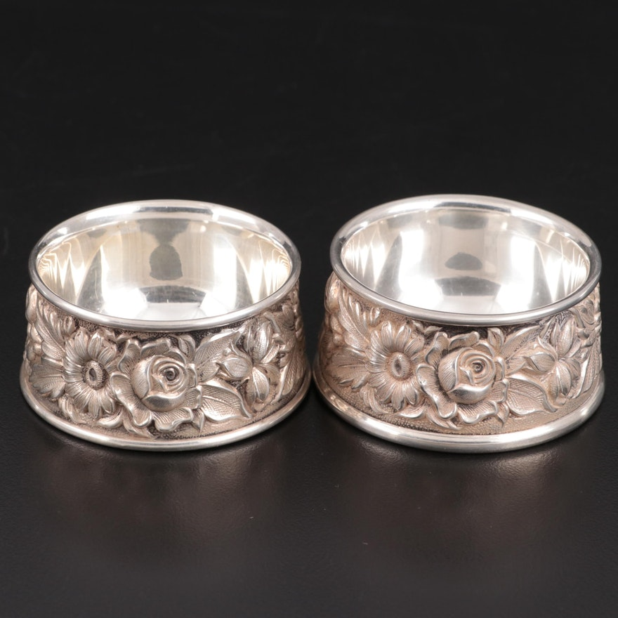 "S. Kirk & Son ""Repoussé"" Chased Sterling Silver Salt Cellars"