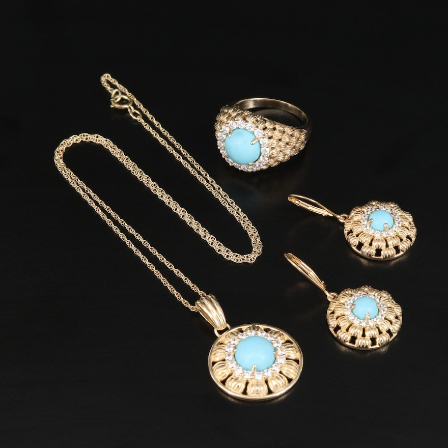 Sterling Jewelry Set Featuring Faux Turquoise and Cubic Zirconia