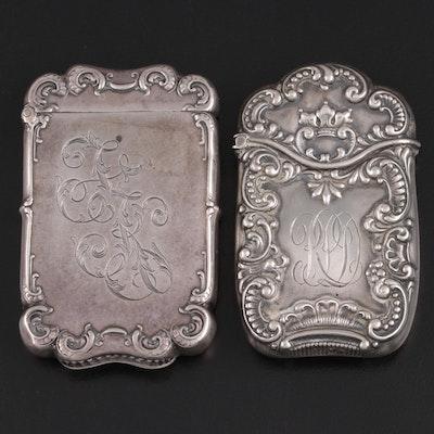 Art Nouveau F.S. Gilbert Repoussé Sterling Silver, and Silver Plate Vesta Cases