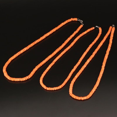 Sterling Coral Beaded Necklaces