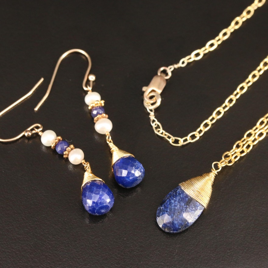 Sterling Silver Sapphire and Pearl Necklace with Gold Filled Drop Earrings