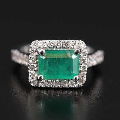 14K 1.54 CT Emerald and Diamond Halo Ring