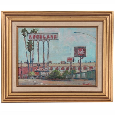 "Kevin Yuen Street Scene Oil Painting ""Foodland Euclid Ave,"" 2020"