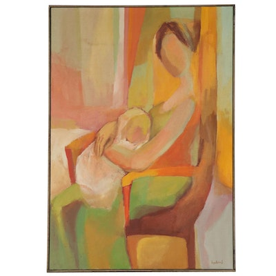 Lyn Keirns Oil Painting of Mother and Baby, Mid to Late 20th Century