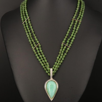 Sterling Chalcedony and Nephrite Necklace