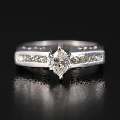 Platinum Diamond Ring with Channel Shoulders with 14K Accent