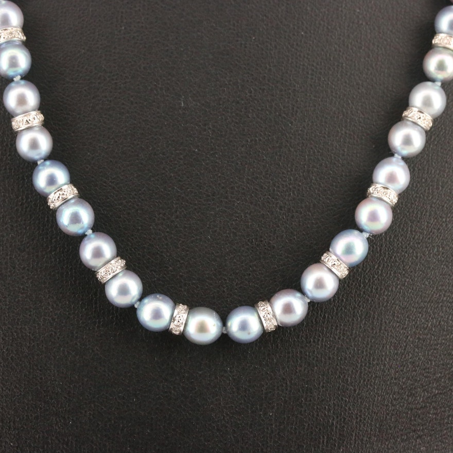 14K Knotted Pearl and Diamond Necklace