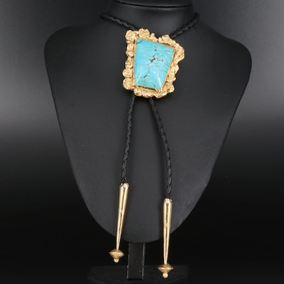 Signed Western Style Turquoise Bolo Tie