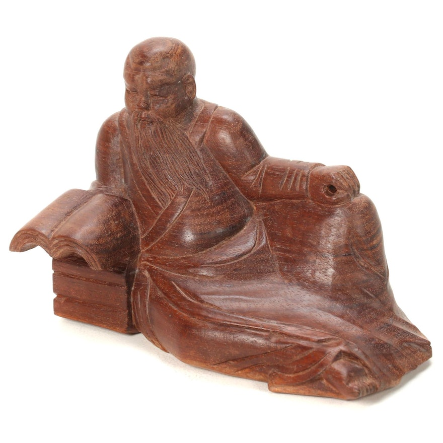 Chinese Wood Carving of Scholar