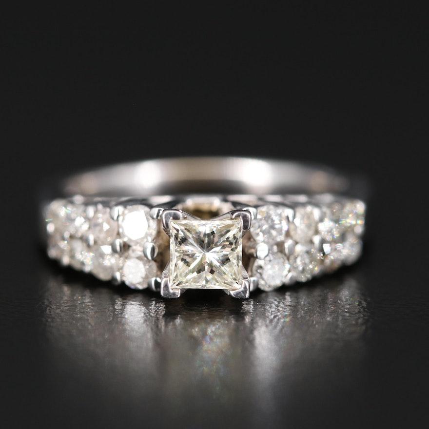 14K Diamond Double Row Step Ring