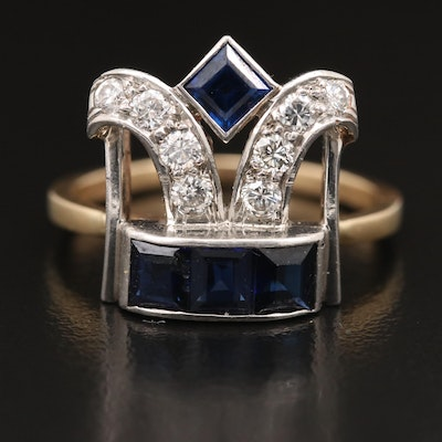 14K Sapphire and Diamond Ring with Art Deco Components and Platinum Detail