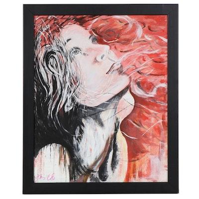 """Ying Ed Portrait Acrylic Painting """"Rising Up,"""" 2020"""