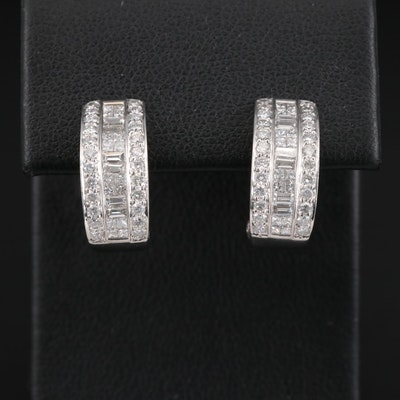 18K 1.30 CTW Diamond Half Hoop Earrings