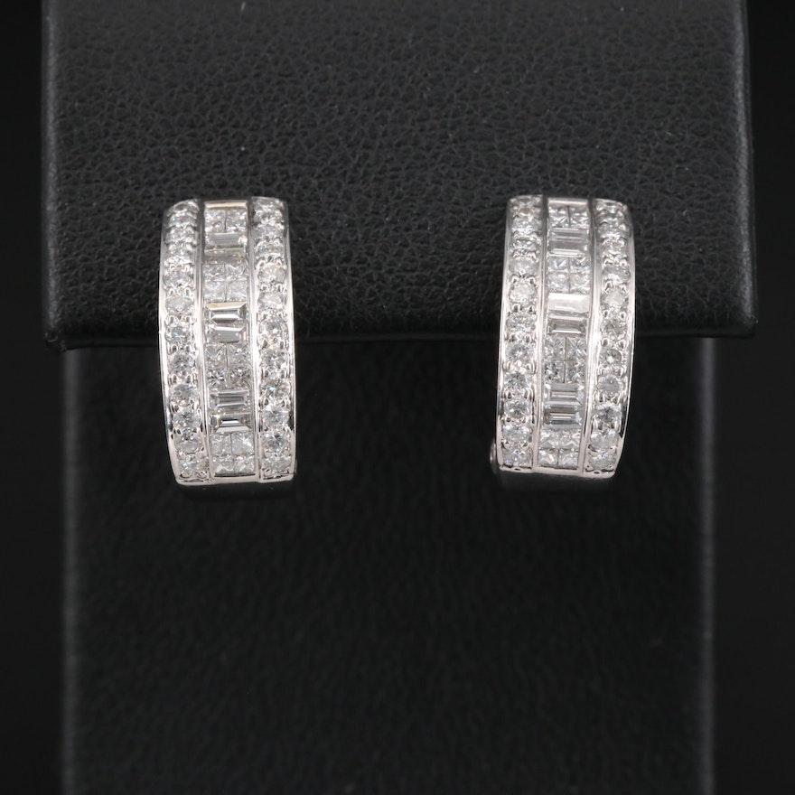 18K 1.30 CTW Diamond Half Hoop Earrings