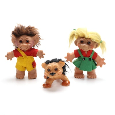 Dam Lykketroll Boy, Girl, and Lion Troll Dolls Made in Denmark, 1960s