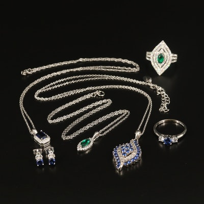 Stauer Sterling Emerald, Sapphire and Cubic Zirconia Jewelry