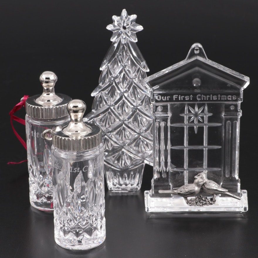 "Waterford Crystal ""Christmas Tree"" and Other Ornaments"